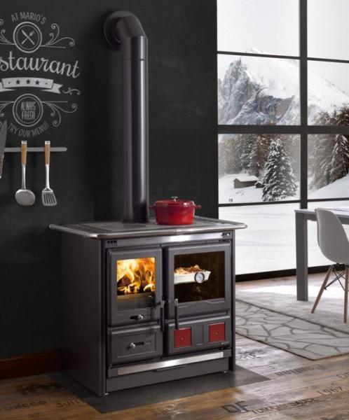 Küchenherd, Holz- und Kohleherd ROSA L, anthrazit schwarz