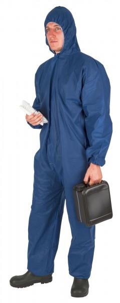 Einwegoverall blau Arbeitsschutzanzug/ Ganzkörperanzug mit Kapuze