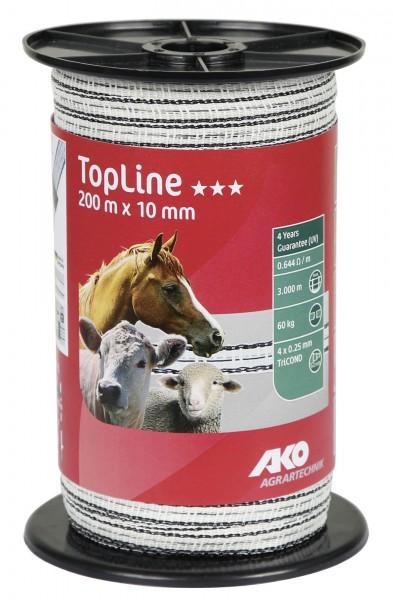 TopLine Weidezaunband 10 mm breit, in der Farbe weiß/ schwarz, 200 Meter auf einer Spule