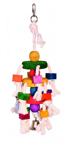 Papageienspielzeug aus Holz mit Baumwollseil und Glocke
