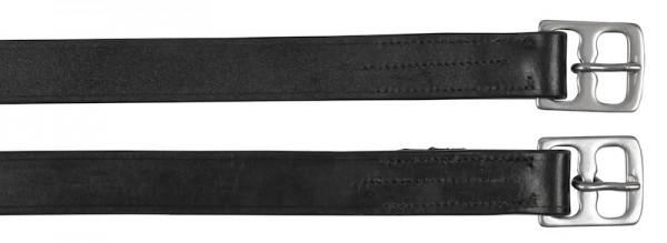 Steigbügelriemen aus Leder in der Farbe schwarz, 130 cm lang, 25 mm breit