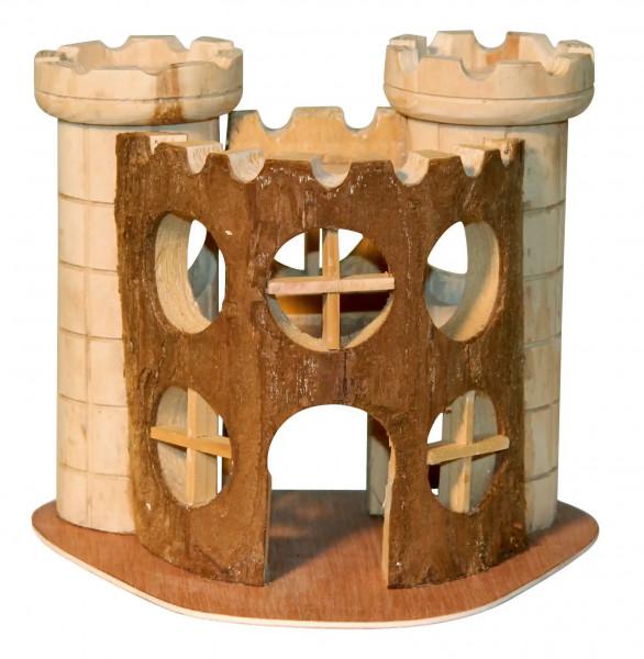 Aus 100% Holz gefertigte Burg für Hamster und Mäuse