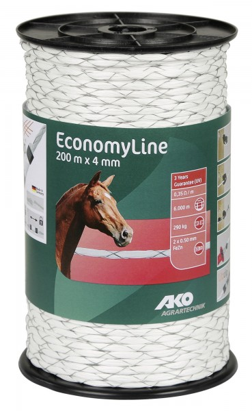 EconomyLine Seil kreuzgewickelt robustes, effizientes, gut sichtbares Seil für Rinderweiden und Pferdekoppeln empfohlen