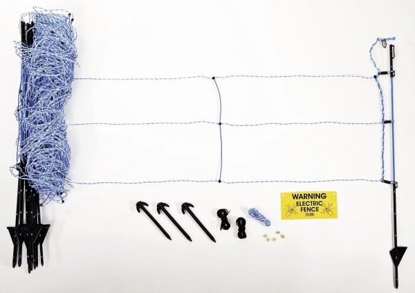 WildNet Weidezaunset mit Verbinderhülsen, Bodenankern, Abspannschnur und Warnschild