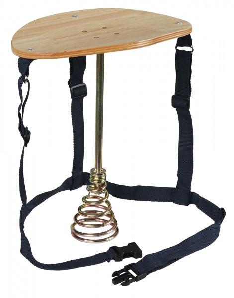 Melkschemel mit Stahlfuß, Standfeder und Holzsitz