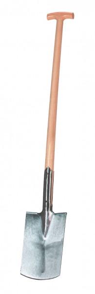 Profi-Spaten mit lackiertem Eschenholz-T-Stiel und Tritt, geschmiedet und gehärteter Stahl
