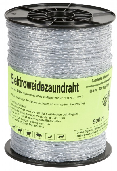 Steuerlitze Elektrozaundraht - das Original, transparent mit verzinkten Eisendrähten, 500 m Spule