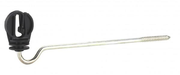 Langstiel-Bandisolator, schwarzer Isolator für Weidezaunbänder mit langer Stütze sowie Holzgewinde