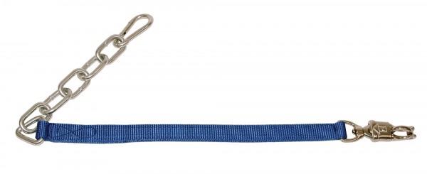 Anbindegurt mit Kette sowie Panik- oder Karabinerhaken, blau, 70 cm lang